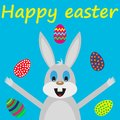 Easter bunny card with eggs