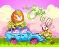 Easter Bunny Carries an Egg by Car