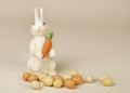 Easter bunny with carrot and eggs studio seasonal or holiday image Stock Photo
