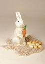 Easter bunny with carrot and eggs studio seasonal or holiday image Stock Images