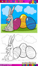 Easter bunny cartoon for coloring Royalty Free Stock Images