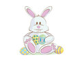 Easter bunny cartoon pastel colored with eggs Royalty Free Stock Images