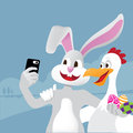 Easter bunny and chicken take a selfie eps vector Royalty Free Stock Photos