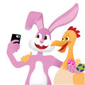 Easter bunny and chicken take a selfie isolated eps vector Royalty Free Stock Photography
