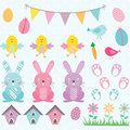 Easter Bunny Chicks Collections.Bunting Banner,Easter Eggs,Flower,Bird House. Royalty Free Stock Photo