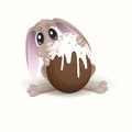 Easter bunny with chocolate egg vector illustration eps Stock Images