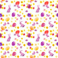 Easter bunny, colored eggs in grass and flowers. Naive seamless floral easter pattern with eggs. Watercolor Royalty Free Stock Photo
