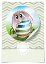 Easter bunny with colorful egg greeting card design template vector illustration eps Stock Photo