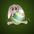 Easter bunny with colorful egg vector illustration eps Royalty Free Stock Photo