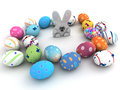 Easter bunny and colorful eggs on white background d render copy space Royalty Free Stock Photo