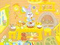 Easter bunny cooks a cake little rabbit decorating fancy in the kitchen Stock Images