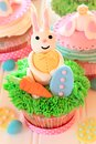 Easter bunny cupcake with eggs Stock Photography