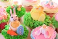Easter bunny cupcake and eggs display Stock Images