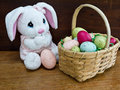 Easter Bunny and Easter Basket Stock Photo