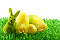 Easter bunny with easter eggs on green grass isolated white background Stock Photos
