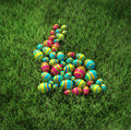 Easter bunny of eggs on the grass Royalty Free Stock Photos