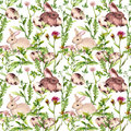 Easter bunny with eggs in grass and flowers. Seamless floral easter pattern. Watercolor Royalty Free Stock Photo