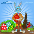 Easter bunny with eggs is holding egg funny vector illustration Royalty Free Stock Photos
