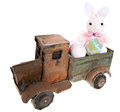 Easter bunny eggs old antique toy truck isolated white Stock Image