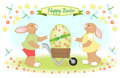 Easter bunny family carries big egg Royalty Free Stock Image