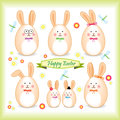 Easter bunny family in a form of egg Stock Photo