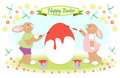 Easter bunny family painting big egg Stock Photo