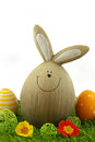 Easter bunny funny with eggs and flower decoration on grass isolated on white background Royalty Free Stock Images