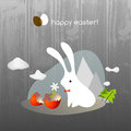 Easter bunny greeting card holiday cute with egg Royalty Free Stock Photos