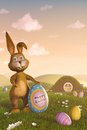 Easter bunny holding an egg with the words happy easter a cute Royalty Free Stock Photo