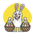 Easter Bunny Holds Two Baskets with Eggs