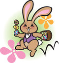 Easter bunny hop illustration of a chubby brown with his eggs Stock Photos
