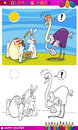 Easter bunny humor cartoon for coloring Royalty Free Stock Image