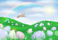 Easter bunny laying eggs Royalty Free Stock Image