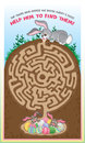 Easter bunny maze for kids a fun game children follow the to help the find the chocolate eggs Stock Photo