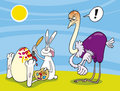 Easter bunny paint ostrich egg Royalty Free Stock Photo