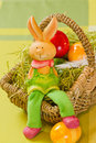 Easter bunny with Painted Ester eggs Royalty Free Stock Photography