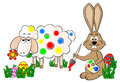Easter bunny painting a sheep colorful vector illustration of Royalty Free Stock Photos