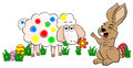 Easter bunny painting a sheep colorful vector illustration of Stock Images