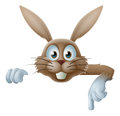 Easter bunny pointing at banner illustration of a cartoon sign Stock Photo