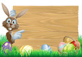 Easter bunny pointing at sign cartoon rabbit a decorated eggs and basket in front Royalty Free Stock Photos