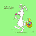 Easter bunny rabbit with basket full of eggs Royalty Free Stock Images