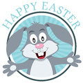 Easter bunny rabbit greeting card a happy blue with a cute isolated on white background eps file available Royalty Free Stock Photo