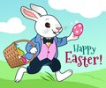 Easter bunny running in a field with basket full of colorful chocolate eggs vector cartoon illustration. Easter, spring, egg hunt Royalty Free Stock Photo