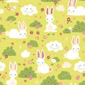Easter bunny seamless vector pattern. Cute bunnies, Easter eggs, flowers, clouds on green background. Cartoon style rabbits hiding
