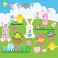 Easter Bunny set. Basket, Flower, Rabbit, Bunting, Easter Egg, Easter Chicks.