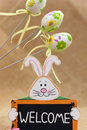Easter bunny sign welcome three painted eggs Stock Photography