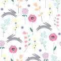 Easter bunny with spring flowers seamless pattern on white background.