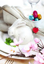 Easter Bunny Table Setting Stock Images