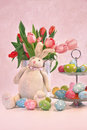 Easter bunny tulips and eggs pink Royalty Free Stock Images