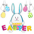 Easter Bunny. Vector Greeting Card with rabbit and egs